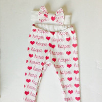 Organic cotton knit personalized name Leggings and headband set! Or faux headwrap