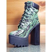 Chelsey Multi Green Fabric Chunky Heel Platform Ankle Boot