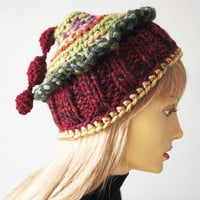 OOAK Christmas hat - Ready to ship - Burgundy crochet cloche - Red & green knit hat - Hat with tassel - Unisex Christmas hat - Holiday hat -