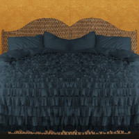 Egyptian Cotton Midnight Blue KING or CAL KING Ruffle Style Duvet Cover Set 3pc 1000tc