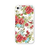 Red Floral iPhone Case - Floral iPhone 4 Case Floral iPhone 5 Case Floral iPhone 5c Case Floral iPhone 5s Case Roses Flowers Green Blue