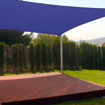 New Premium Clevr Sun Shade Canopy Sail 20'X16' Rectangle UV Outdoor Patio Blue