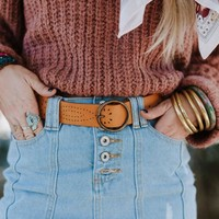 Hey There Faux leather Belt - Camel