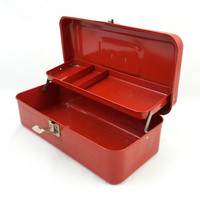 Fire Engine Red Metal Tackle Box with Tray Industrial Rustic Red Tool Box Lockable Art Supply Box Vintage Fishing Gear Storage