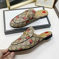 GUCCI Women's Sexy New Letter Ladybug Print Flat Casual Slippers