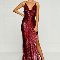 Andriana Sequins Gown- BURGUNDY