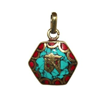 turquoise coral om pendant