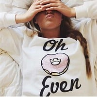 FASHION PURE COLOR LETTER CASUAL T-SHIRT SWEATER
