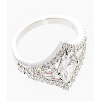Womens Sterling Silver Ring Princess Cut CZ Cubic Zirconia Center Stone