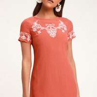 Tale To Tell White and Orange Embroidered Shift Dress