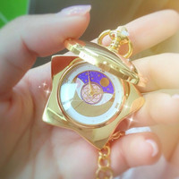 Anime Sailor Moon 20th Anniversary Pocket Watch Golden Color