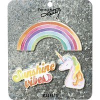 Last Call! Sunshine Vibes Magnet Set in Rainbow and Unicorn