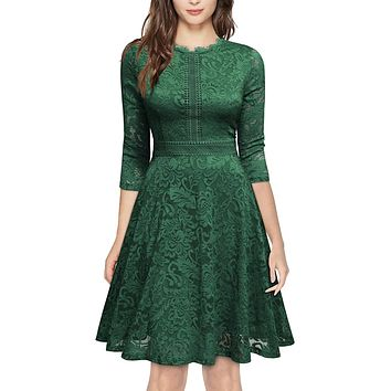 Retro Inspired Bell Sleeve Lace Cocktail Dress, US Sizes 0 - 20  (Green Dress)