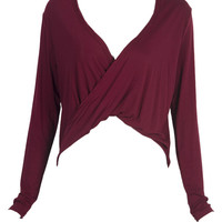 Dark Red Wrap Long Sleeve Top