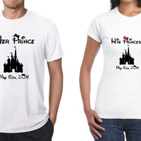 Disney His and Her T-Shirts CUSTOM Combo (Multi Color Choices) Her Prince His Princess Disney Castle Shirts Womens T-Shirt