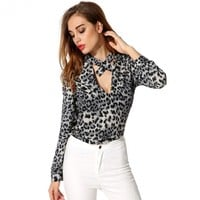 ANGVNS Stylish Ladies Women Casual Stand Collar Key-hole Long Sleeve Loose Shirt