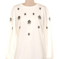 Snow Crystal Embellished Sweater