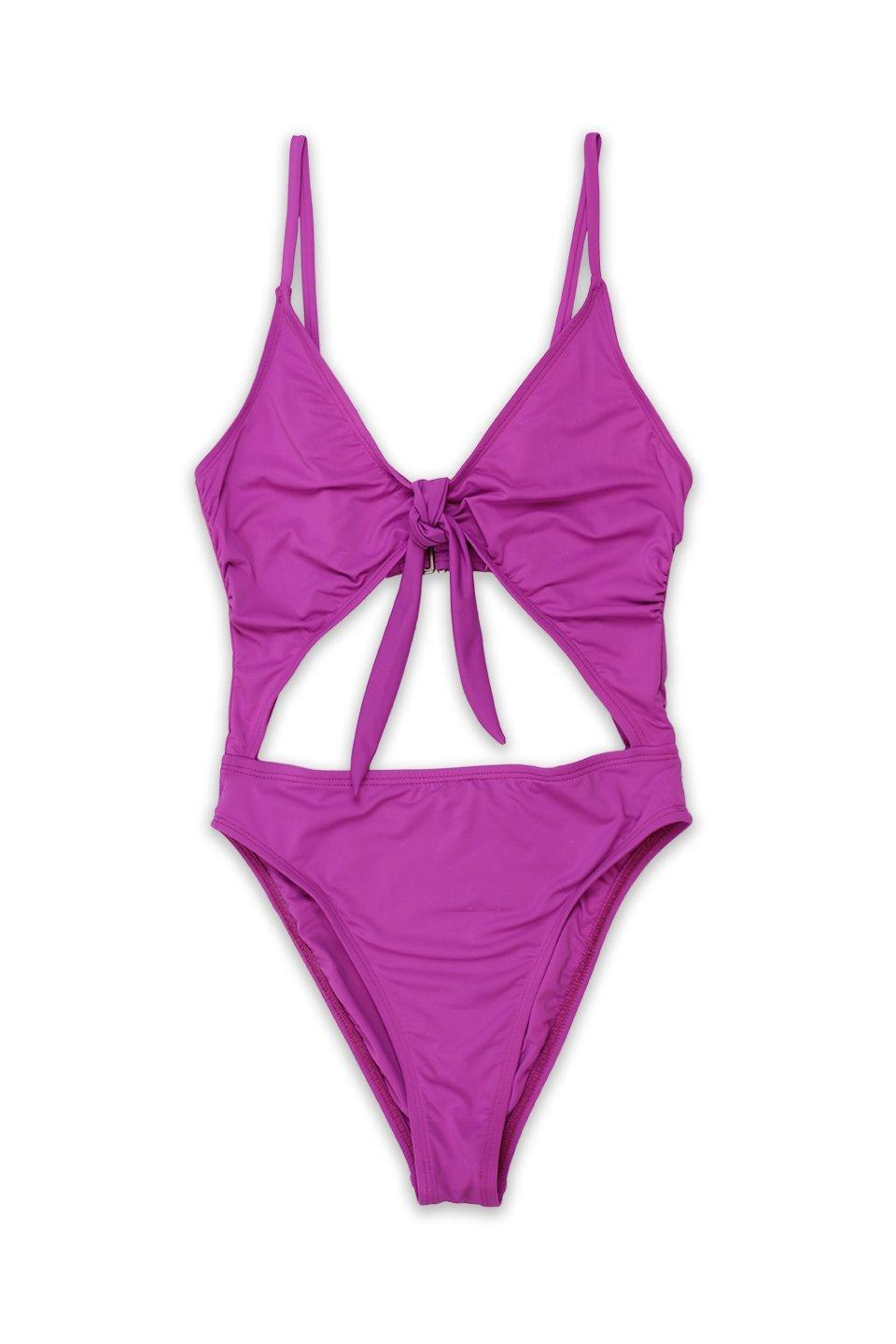 Image of Tie Front Cheeky Coverage One Piece in Purple