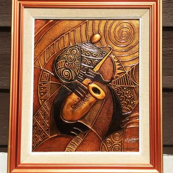 Sax - Copper Relief - Framed