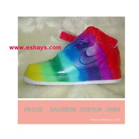Custom Rainbow Parade Color Mid-Top Nike Air Force Ones