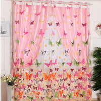 200 x 100cm Butterfly Print Sheer Window Panel Curtains Room Divider  for Living Room Bedroom