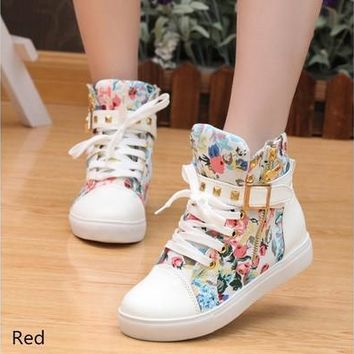 HOT Women Casual Shoes Ankle School Boots Zipper Sports Flat Buckle Rivet Sneaker Canvas Shoes 5-7# [8323193601]