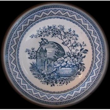 Wedgwood Victorian Aesthetic Teal Blue Transferware Soup/Salad Bowl Plate Birds on a Branch Vase of Flowers Moonlit Castle