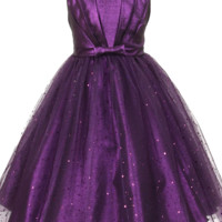 Purple Pleated Taffeta Girls Dress with Sparkling Tulle Skirt 2T-12