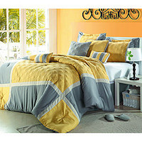 Yellow/ Grey Oversized 8-piece Comforter Set | Overstock.com