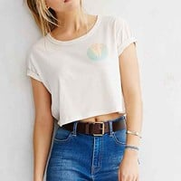 Truly Madly Deeply Palm Cropped Tee- Ivory