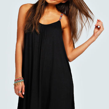 Lizzie Embroidered Strap Swing Dress