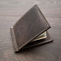 Christmas Sale -15% PERSONALIZED WALLET Men's Leather Money Clip Wallet Gifts Bifold Wallet Distressed Minimalist Leather Wallets