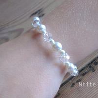 Pearl Wedding Bracelet, Swarovski Pearl and swarovski Bridal Bracelet, Wedding Jewelry for the Bride