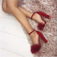 Summer Sexy High Heels Faux Fur Party Sandals