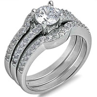 Sterling Silver Brilliant Cut Wedding 3 Ring Set CZ Engagement Ring and Band size 5-9