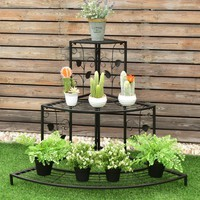 Giantex 3 Tier Floral Corner Plant Stand Metal Flower Pot Rack Stair Display Ladder  Outdoor Furniture