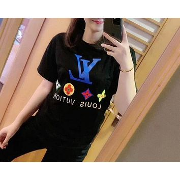 """LOUIS VUITTON"" Woman Leisure Fashion Letter Personality Printing  Hedging Crew Neck Short Sleeve Motion Tops"