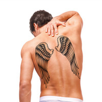 1Pcs Temporary Big Tattoo 3D Cool Angel Wings Back Tattoo Stcker Waterproof Large Fake Tattoo Stickers for Men 30.5*21.5cm