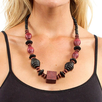 70's Wooden Geometric Necklace