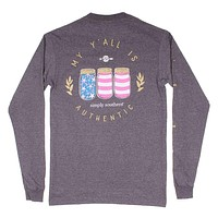 Long Sleeve Preppy Y'all Tee in Dark Heather Grey by Simply Southern