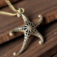 Auspicious necklace,hollow out  starfish  necklace ---N011