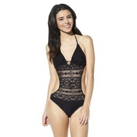 Xhilaration® Junior's Crochet Monokini -Black
