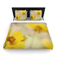 """Sylvia Coomes """"Abstract Yellow Flowers"""" Green Photography Woven Duvet Cover"""