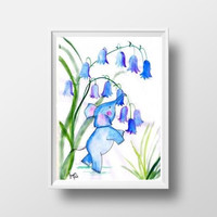 Baby elephant and blue bells watercolor painting animal nursery wall art framed print decor girl boy room large decal children elephant deco