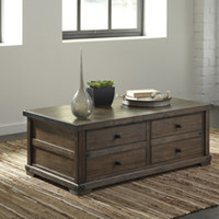 T870-20 Zenfield Cocktail Table with Storage - Medium Brown - Free Shipping!
