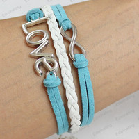 silver  bracelets  - bronze infinit & anchor  braclets with blue rope,with braided rope bracelets personalized bracelets N0013