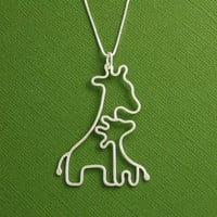Giraffe Necklace Mother and Baby Sterling Silver by Dragonfly65