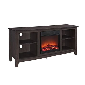 """58"""" Espresso Wood TV Stand with Fireplace Insert"""