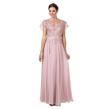 V-Neck and Back Dusty Rose Long Formal Dress with Appliques