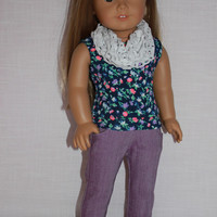 floral tank top, purple denim skinny jeans, and fashion mesh infinity scarf,  18 inch doll clothes